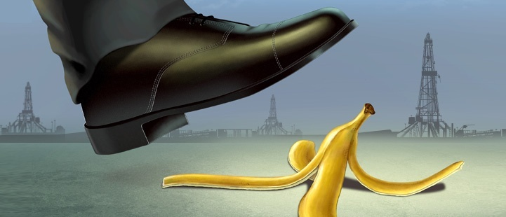 large black shoe stepping on banana