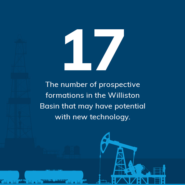 17. The number of prospective formations in the Williston Basin that may have potential with new technology.