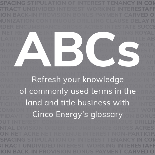 Cincos energy glossary