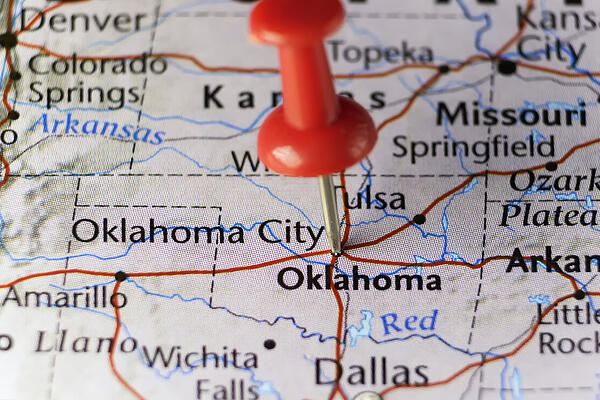 oklahoma on the US map