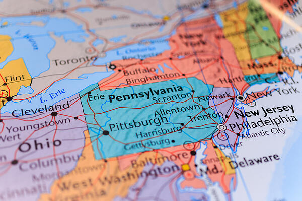 pennsylvania on map